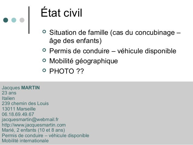 modele cv etat civil