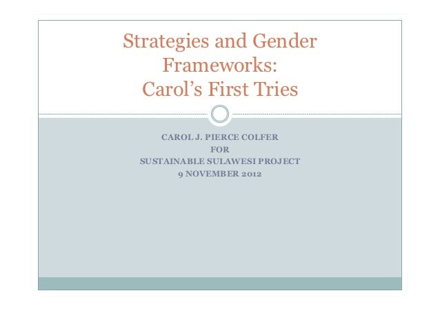 Strategies and Gender    Frameworks:  Carol's First Tries     CAROL J. PIERCE COLFER               FOR SUSTAINABLE SULAWES...