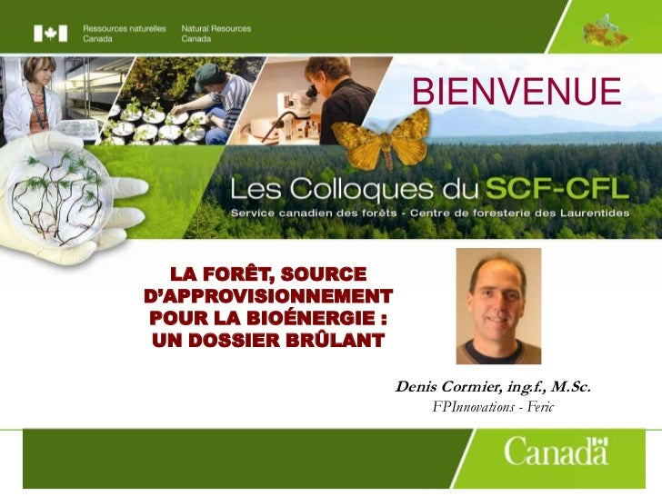 BIENVENUE<br />LA FORÊT, SOURCE D'APPROVISIONNEMENTPOUR LA BIOÉNERGIE :<br />UN DOSSIER BRÛLANT<br />Denis Cormier, ing.f....