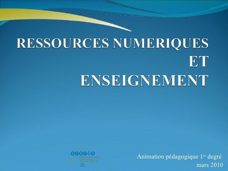 Animation pédagogique 1 er  degré  mars 2010