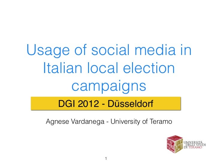Usage of Social Media in Italian Local Electoral Campaign