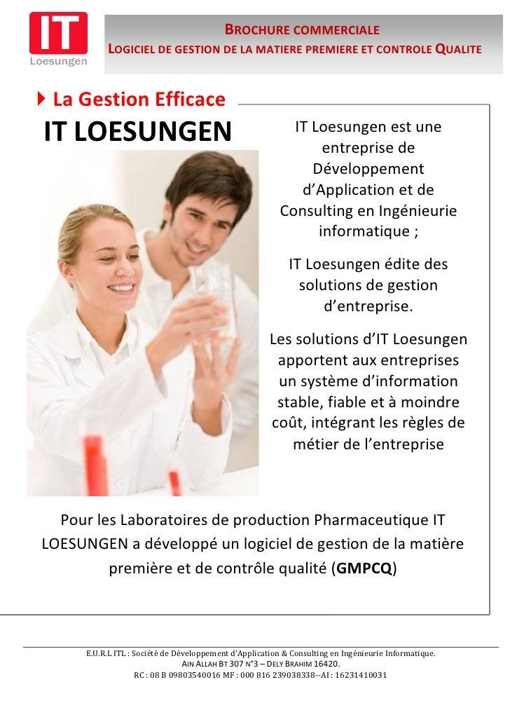 Presentation Du Logiciel De Gestion De La Matiere Premiere Et Controle Qualite Version 1.2