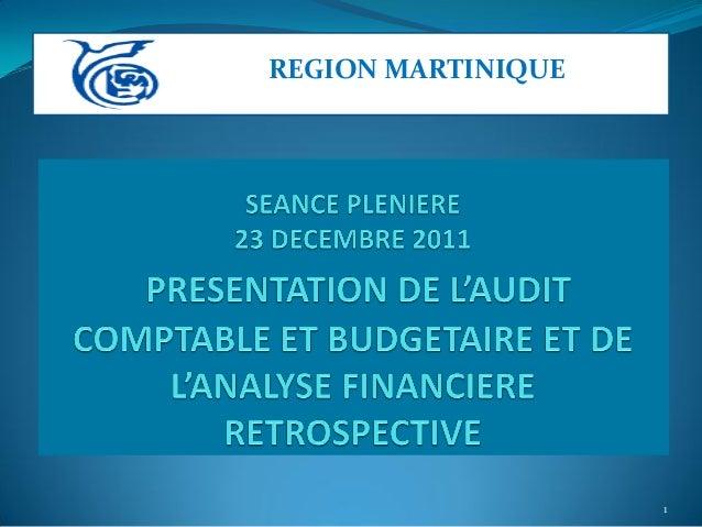 Audit  de la gestion budgétaire et comptable région martinique 2009