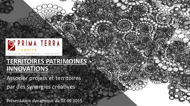 TERRITOIRES PATRIMOINES INNOVATIONS Associer projets et territoires par des synergies créatives Présentation dynamique du ...