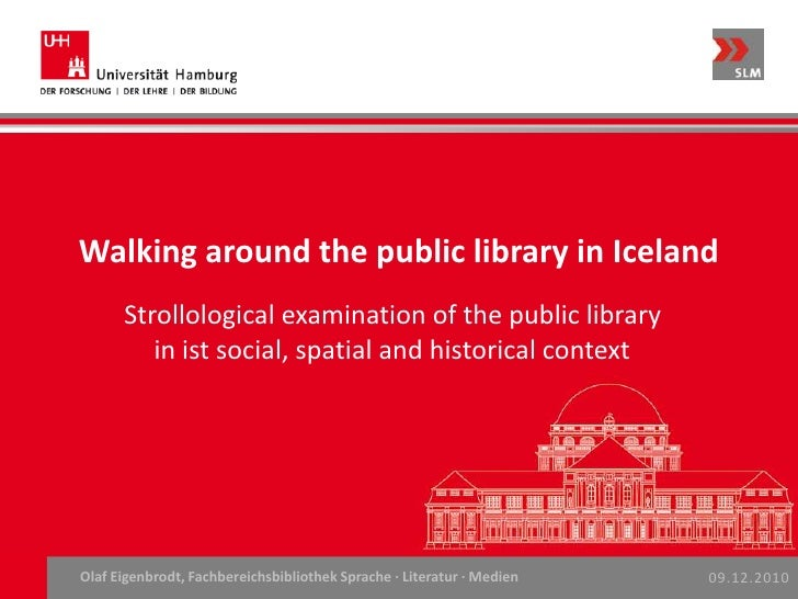Walking around the public library in Iceland