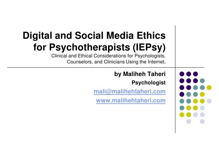 Digital and Social Media Ethics for Psychotherapists (IEPsy)
