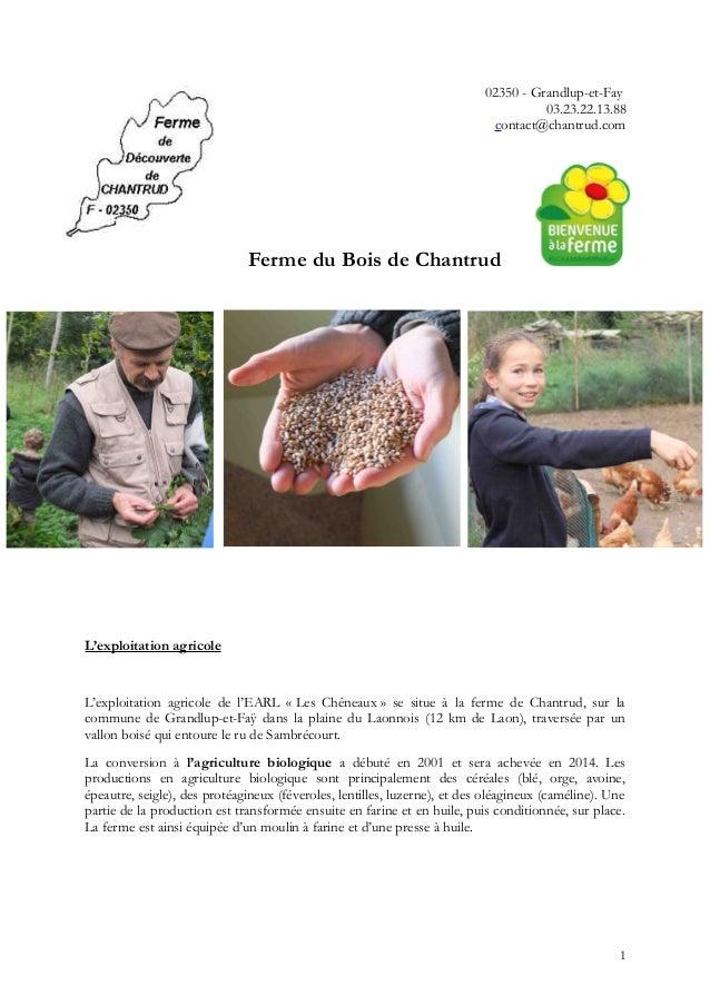 02350 - Grandlup-et-Fay 03.23.22.13.88 contact@chantrud.com Ferme du Bois de Chantrud L'exploitation agricole L'exploitati...