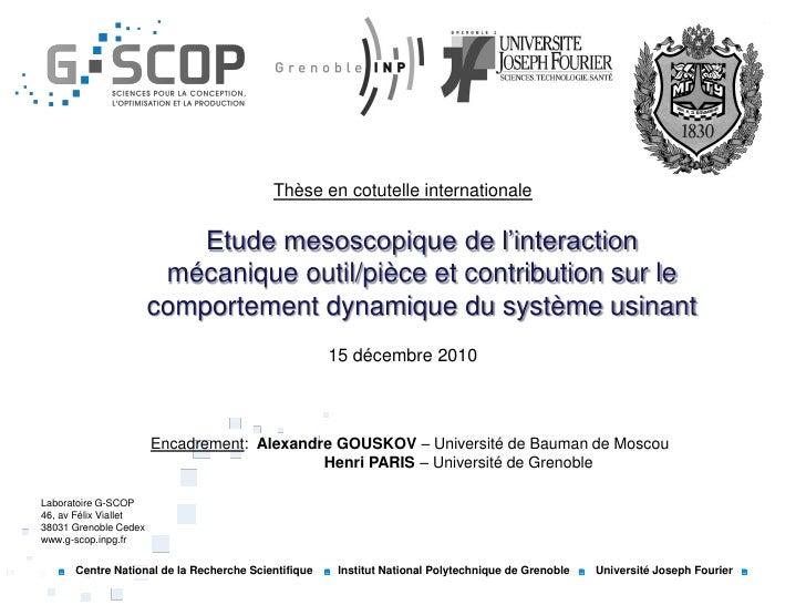 Thèse en cotutelle internationale                           Etude mesoscopique de l'interaction                        méc...