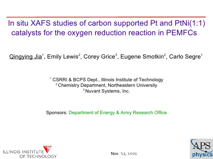In situ XAFS studies of carbon supported Pt and PtNi(1:1)  catalysts for the oxygen reduction reaction in PEMFCs   Qingyin...
