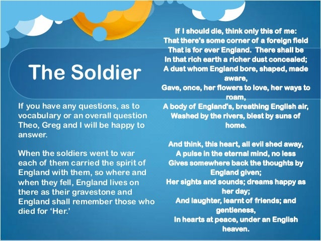 the soldier by rupert brooke A dramatic reading of the poem 'the soldier' by rupert brooke a vicar begins  reciting the poem to his church congregation, before the.