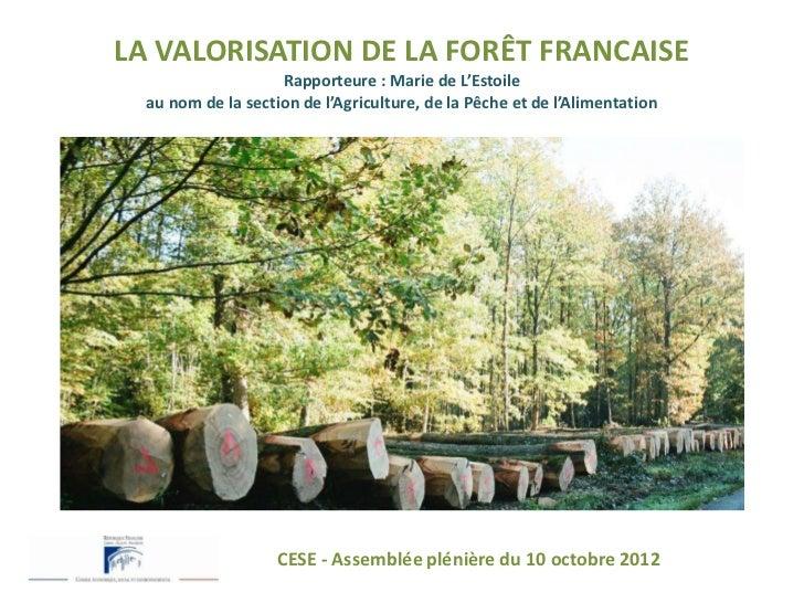 LA VALORISATION DE LA FORÊT FRANCAISE                    Rapporteure : Marie de L'Estoile  au nom de la section de l'Agric...