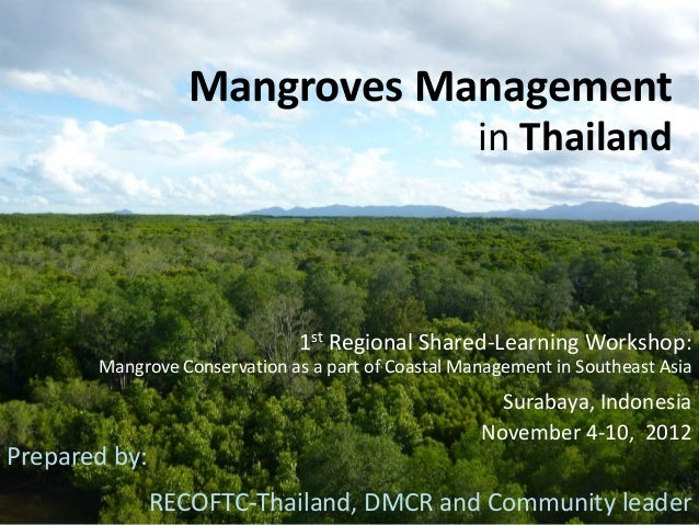 Mangroves Managementin Thailand1st Regional Shared-Learning Workshop:Mangrove Conservation as a part of Coastal Management...