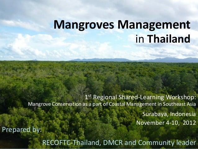 Mangroves Management in Thailand: Presentation for jica workshop nov. 4 10, 2012-final
