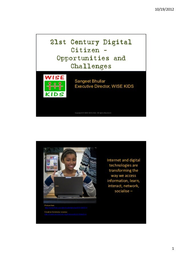 10/19/2012      21st Century Digital           Citizen -–        Opportunities and           Challenges                   ...