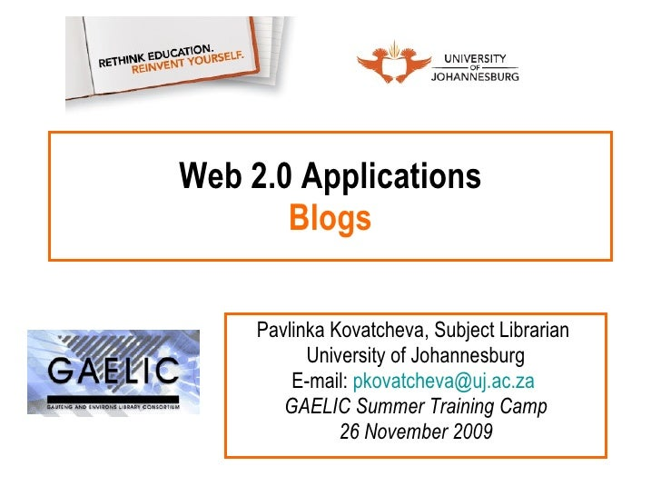 Web 2.0 Applications: Blogs