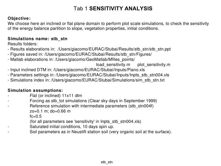 Tab 1  SENSITIVITY ANALYSIS stb_stn Objective: We choose here an inclined or flat plane domain to perform plot scale simul...