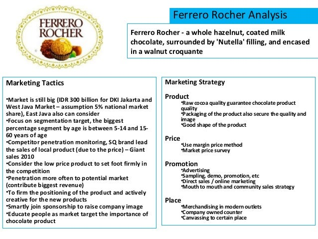 ferrero swot Ferrero rocher swot analysis is covered on this page along with usp &  competition it also includes ferrero rocher's segmentation, targeting &  positioning.