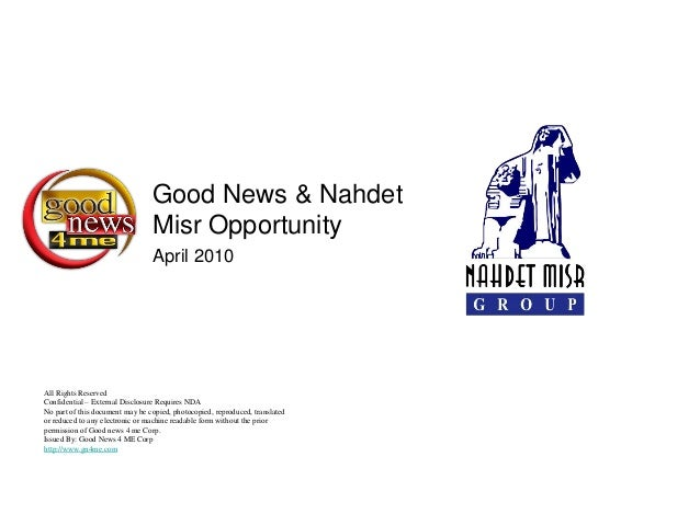 Good News & Nahdet                                 Misr Opportunity                                 April 2010All Rights R...