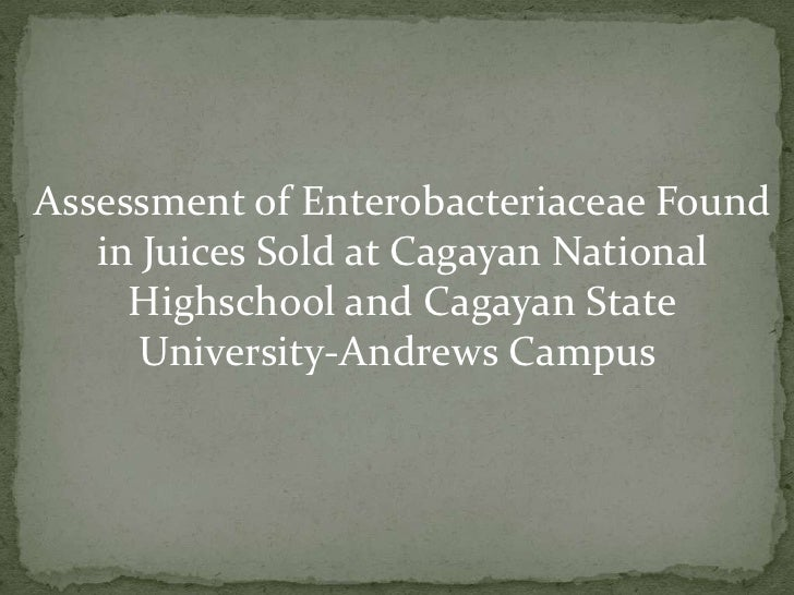 Assessment of EnterobacteriaceaeFound<br />     in Juices Sold at Cagayan National <br />Highschooland Cagayan State <br /...