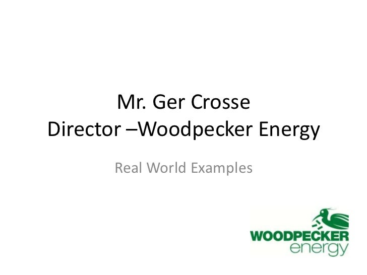 Mr. Ger CrosseDirector –Woodpecker Energy<br />Real World Examples<br />