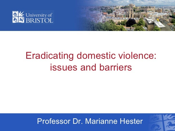 Eradicating domestic violence:     issues and barriers  Professor Dr. Marianne Hester