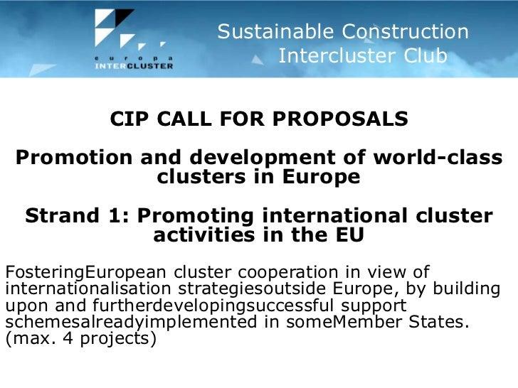 Mersin Regional innovation forumMersin, Turkey – 21 December 2010<br />Sustainable Construction        Intercluster Club<...