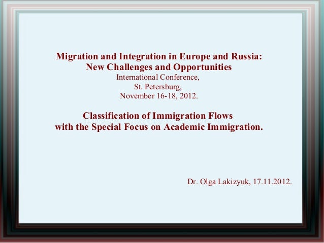 Migration and Integration in Europe and Russia:      New Challenges and Opportunities             International Conference...