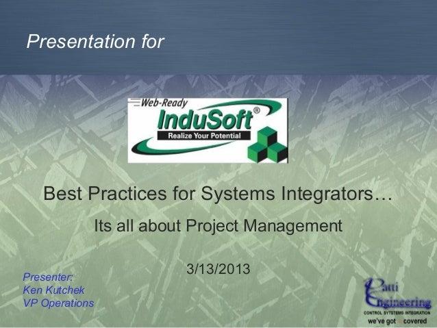 System Integrator Best Practices