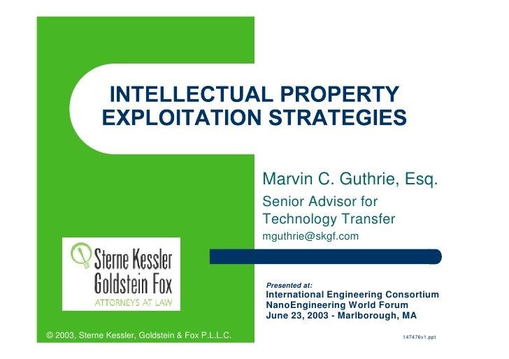 SKGF_Presentation_Intellectual Property Exploitation Strategies_2003
