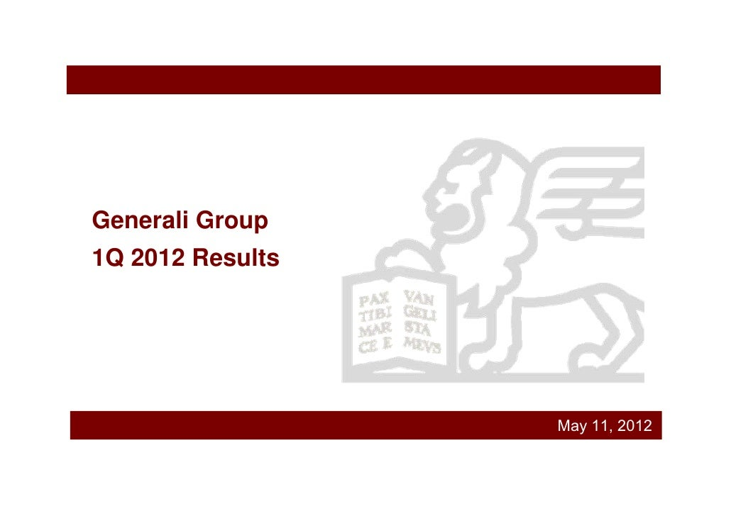 Generali Group 1Q 2012 Results