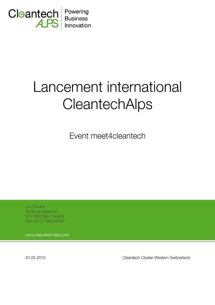 La Suisse occidentale lance sa nouvelle plateforme CleantechAlps sous la direction conjointe des cantons de Fribourg et du...