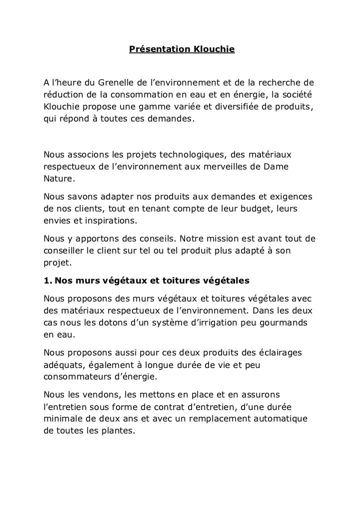 Présentation KlouchieA l'heure du Grenelle de l'environnement et de la recherche deréduction de la consommation en eau et ...