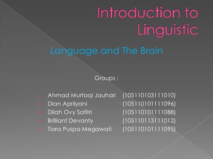 Language and The Brain                   Groups :1.   Ahmad Murtaqi Jauhari    (105110103111010)2.   Dian Aprilyani       ...