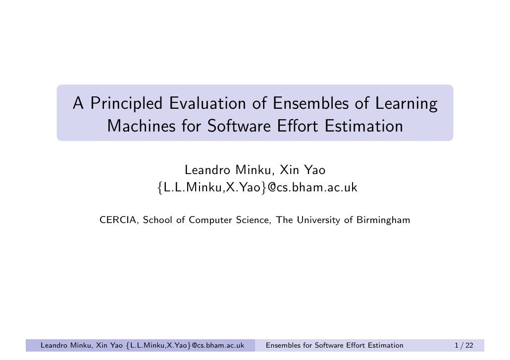 "Promise 2011: ""A Principled Evaluation of Ensembles of Learning Machines for Software Effort Estimation"""