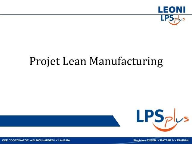 Projet Lean ManufacturingOEE COORDINATOR A.ELMOUHADDEB / Y.LAHFAIA   Stagiaires ENSEM Y.RATTAB & Y.RAMDANI