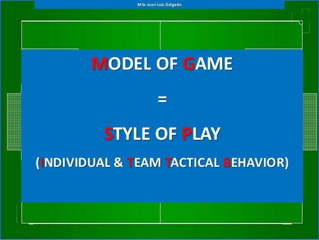 MODEL OF GAME = STYLE OF PLAY (INDIVIDUAL & TEAM TACTICAL BEHAVIOR) MSc Juan Luis Delgado