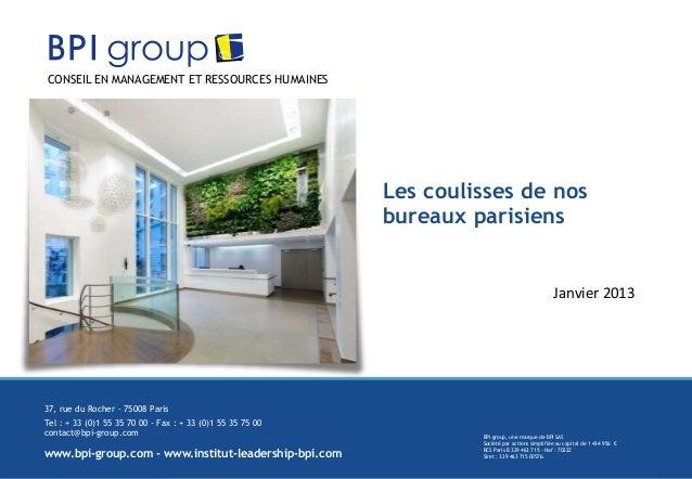 Présentation Locaux BPI group PARIS