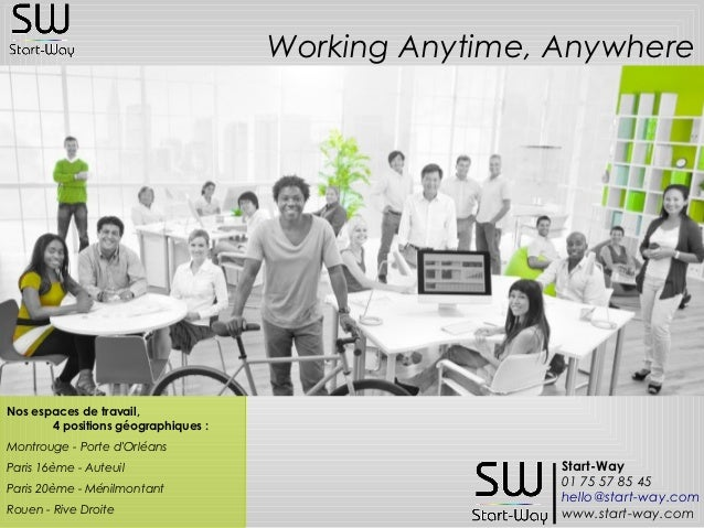 Working Anytime, AnywhereNos espaces de travail,       4 positions géographiques:Montrouge - Porte dOrléansParis 16ème - ...