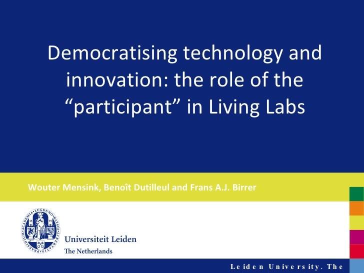 EASST - Living Labs and democratisation