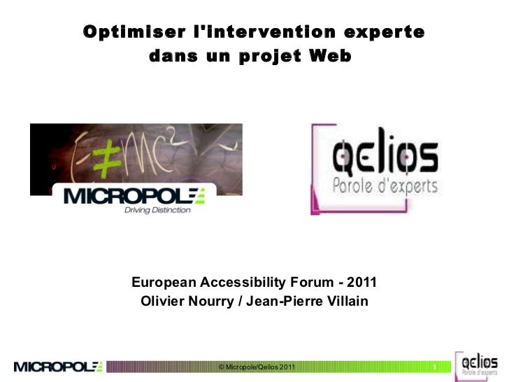 Optimiser l'intervention experte dans un projet Web  European Accessibility Forum - 2011 Olivier Nourry / Jean-Pierre Vill...