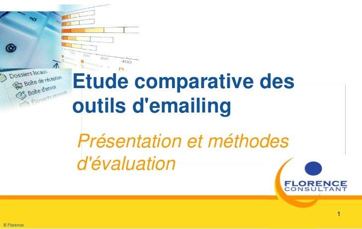 Presentation contenu et  méthodologie etude comparative solutions d'emailing
