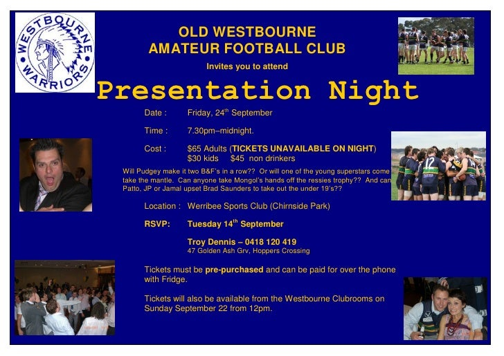 OLD WESTBOURNE         AMATEUR FOOTBALL CLUB                           Invites you to attend   Presentation Night        D...
