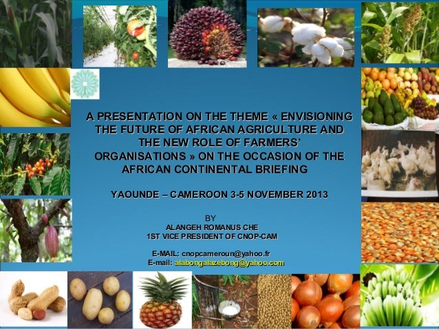 A PRESENTATION ON THE THEME « ENVISIONING THE FUTURE OF AFRICAN AGRICULTURE AND THE NEW ROLE OF FARMERS' ORGANISATIONS » O...
