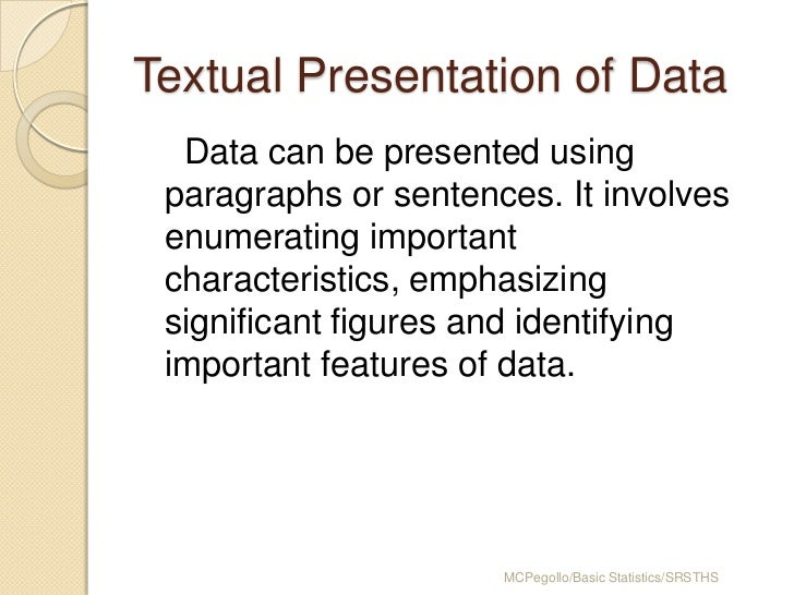 Textual presentation of data