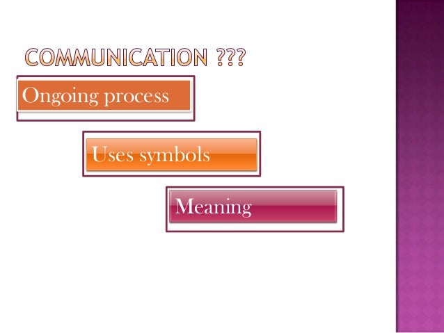Ongoing process Uses symbols Meaning