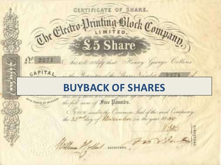 BUYBACK OF SHARES