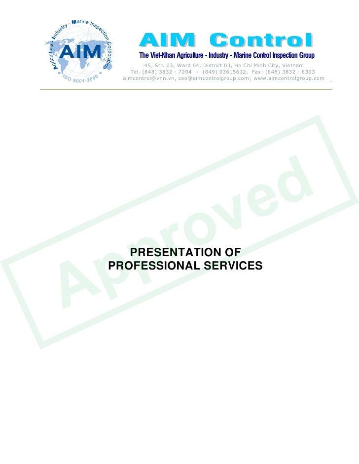 v e d    p r o   p      PRESENTATION OF    A   PROFESSIONAL SERVICES