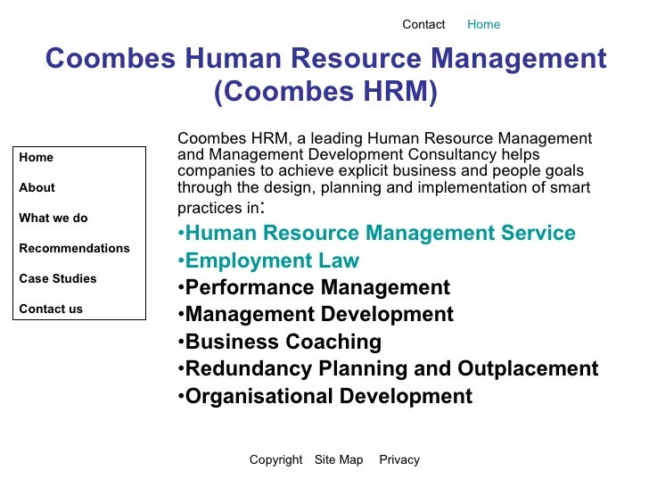 Presentation Of Web Page Coombes HRM