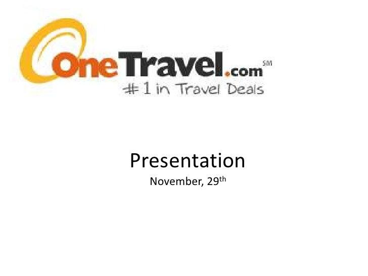 Presentation One Travel.Com