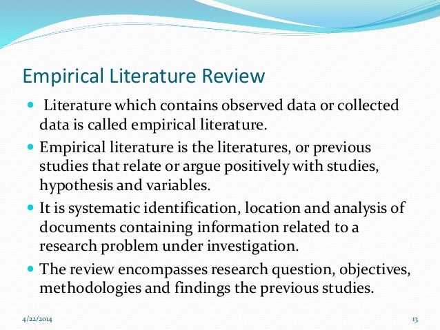 Literature review in empirical research